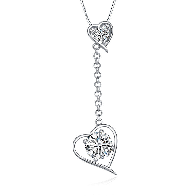 Silver Twin Heart Lariat Drop Necklace