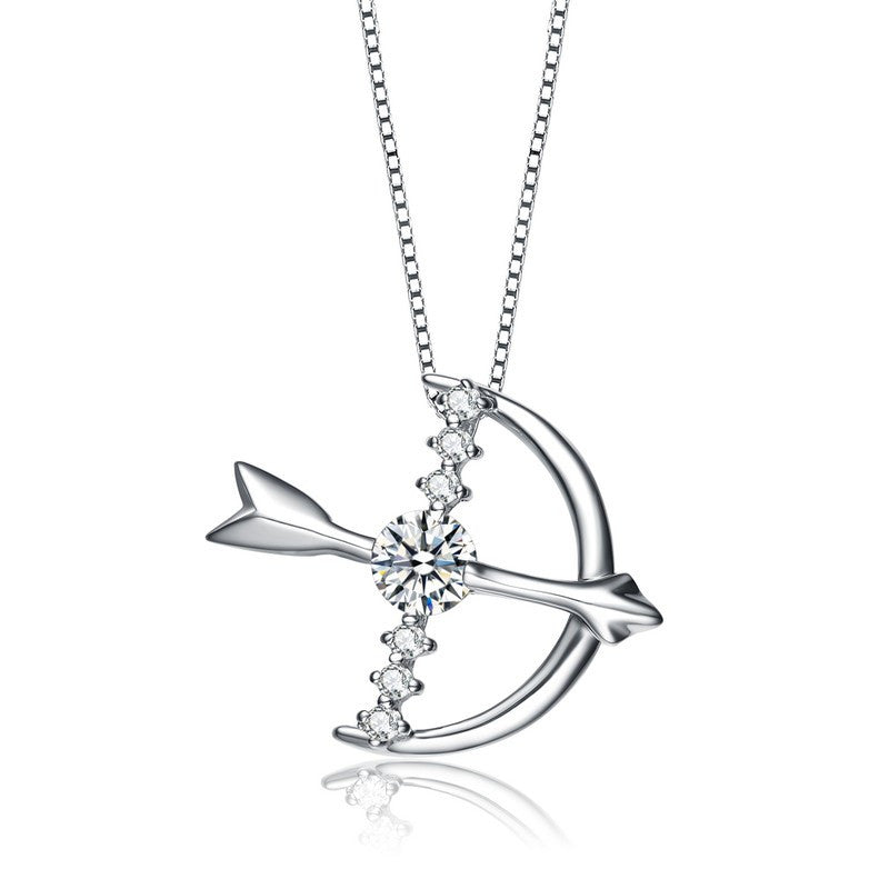 Cupid Bow & Arrow Silver Sparkling Necklace