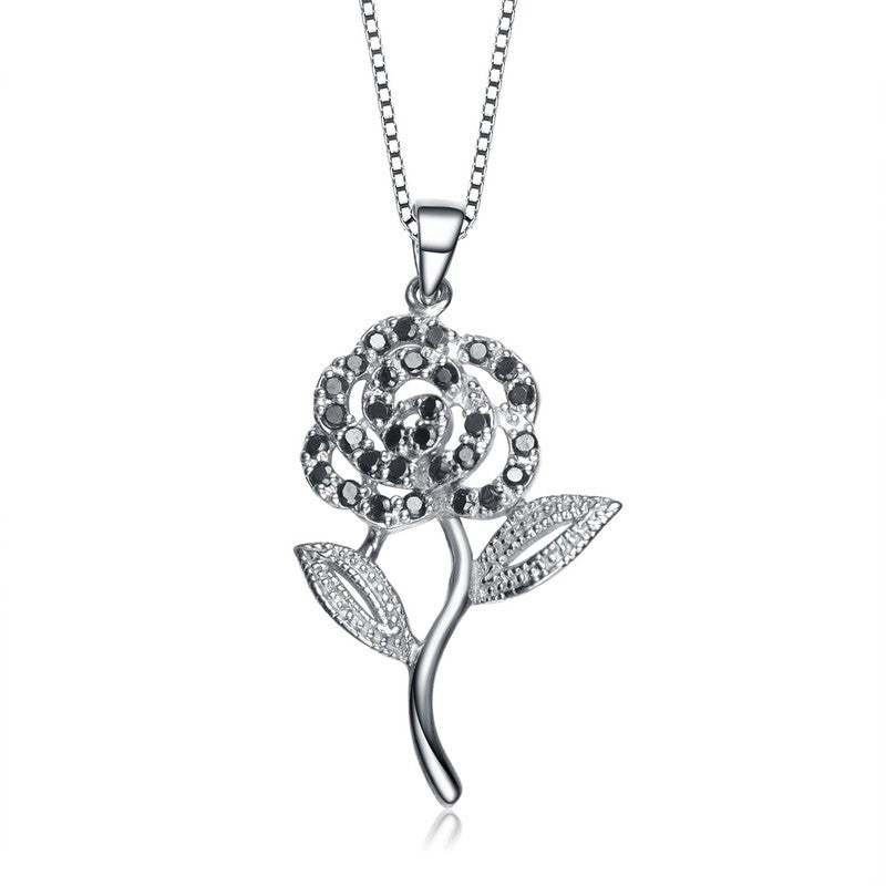 Silver Rose Flower Sparkling Black Gem Necklace