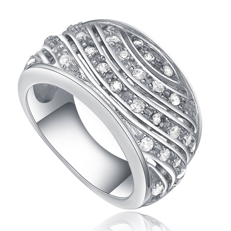 Silver Clear Cubic Zirconia Wave Stone Ring