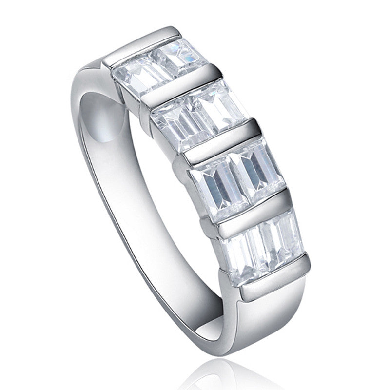 Silver Square Cut Cubic Zirconia Sectioned Ring