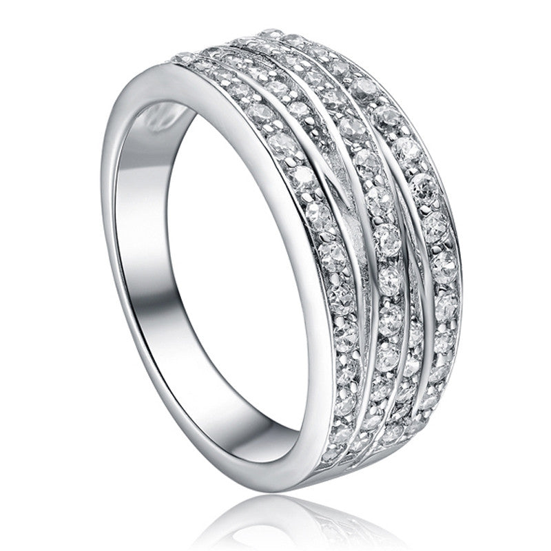 Silver Cubic Zirconia Crossover Four Row Ring