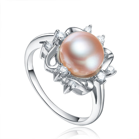 Sterling Silver Crowned Freshwater Pearl Ring