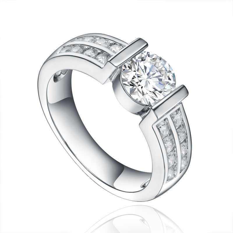 Silver Classic Double Row CZ Shoulder Ring