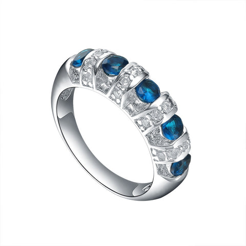Sterling Silver Half Eternity Blue Sapphire Cubic Zirconia Ring