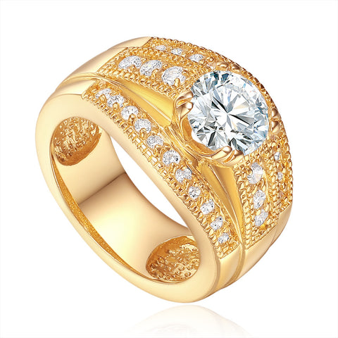 Triple Row Stone Band Shoulders Ring