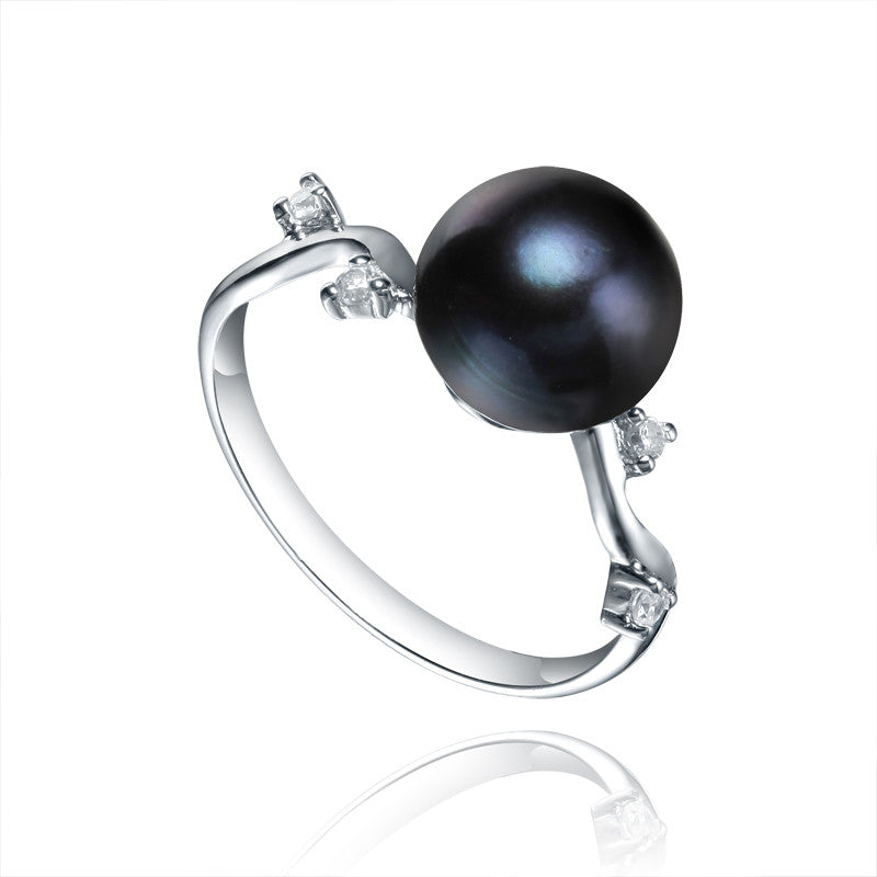 Sterling Silver Black Pearl Cubic Zirconia Ring