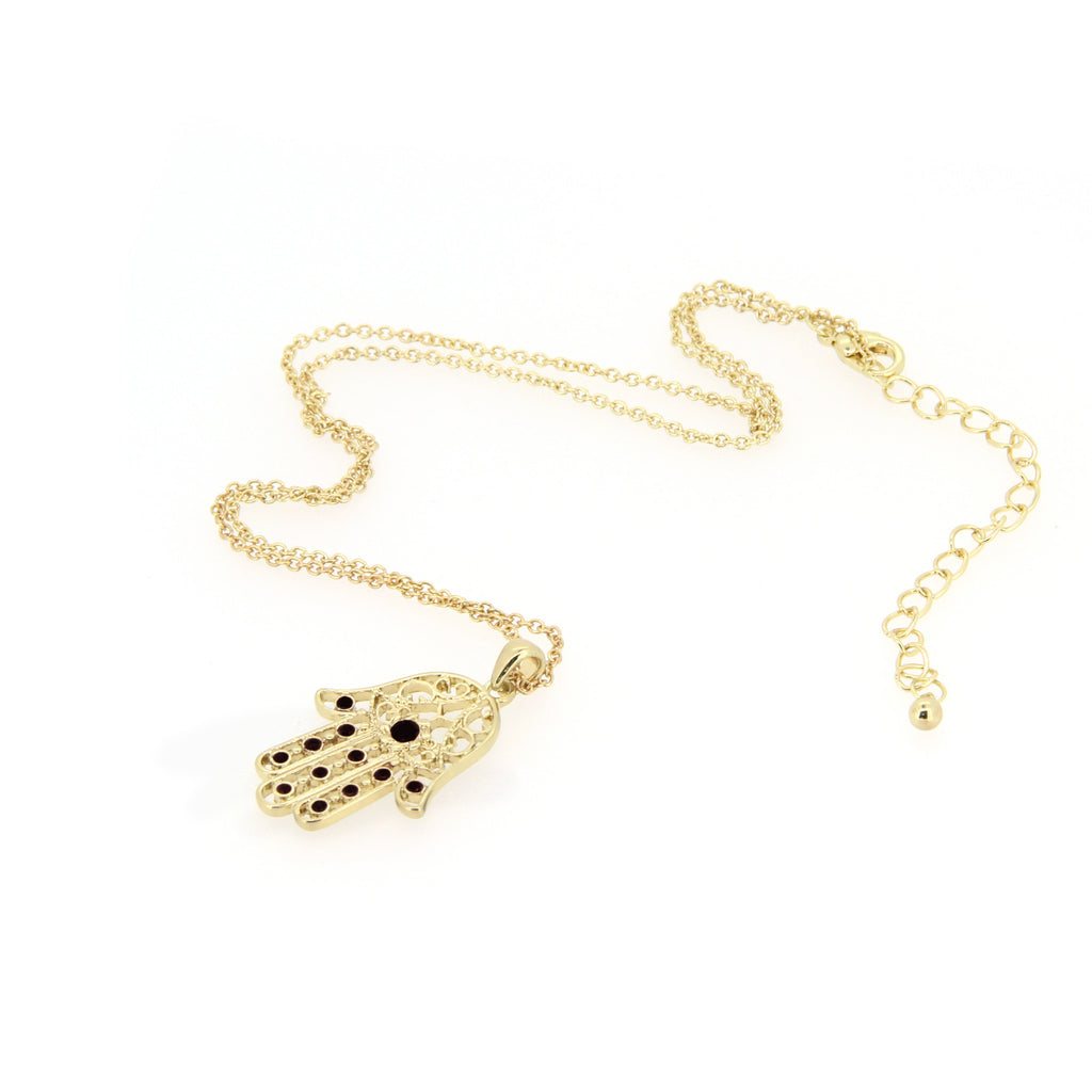 Gold Hamsa Dark Queen Necklace