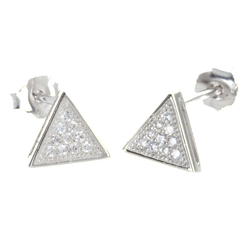 Silver Cubic Zirconia Triangle Micro Pave Stud Earrings