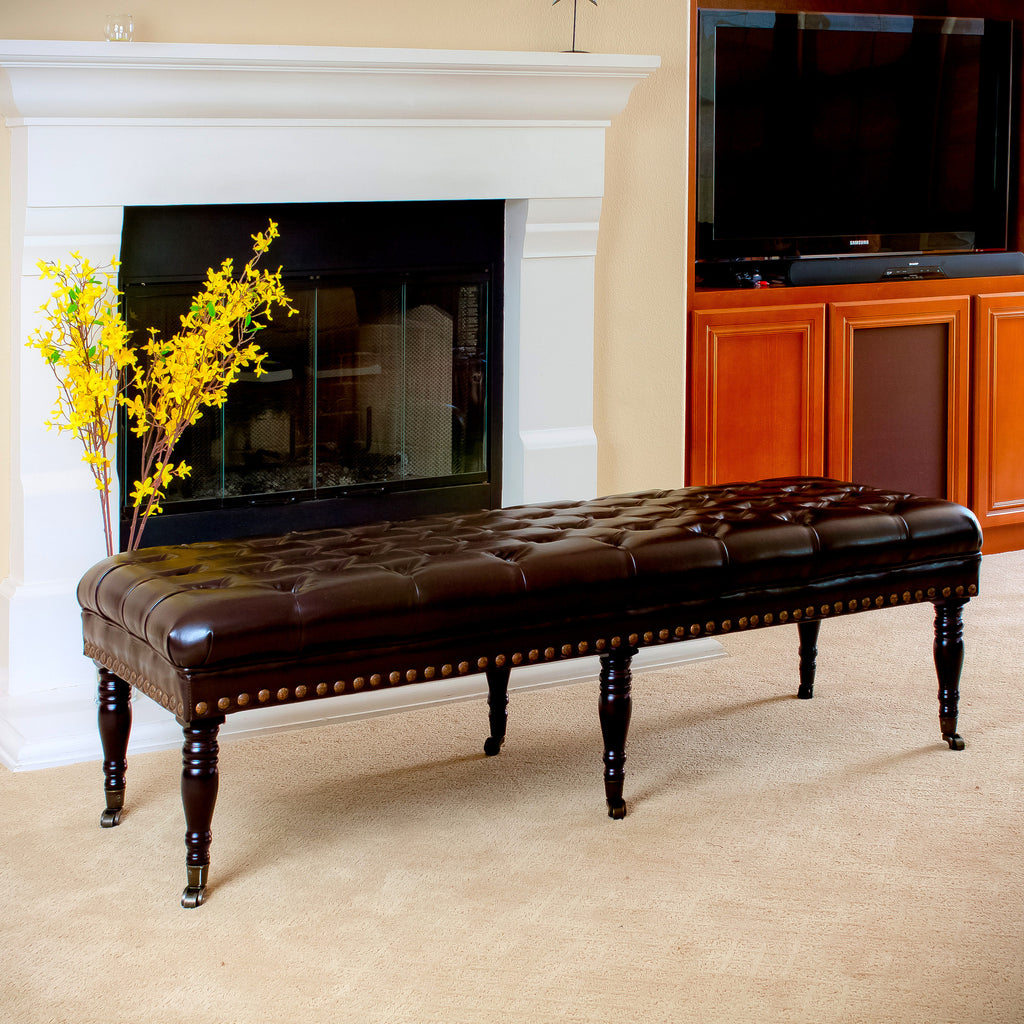 Dover Brown Tufted Leather Ottoman Bench