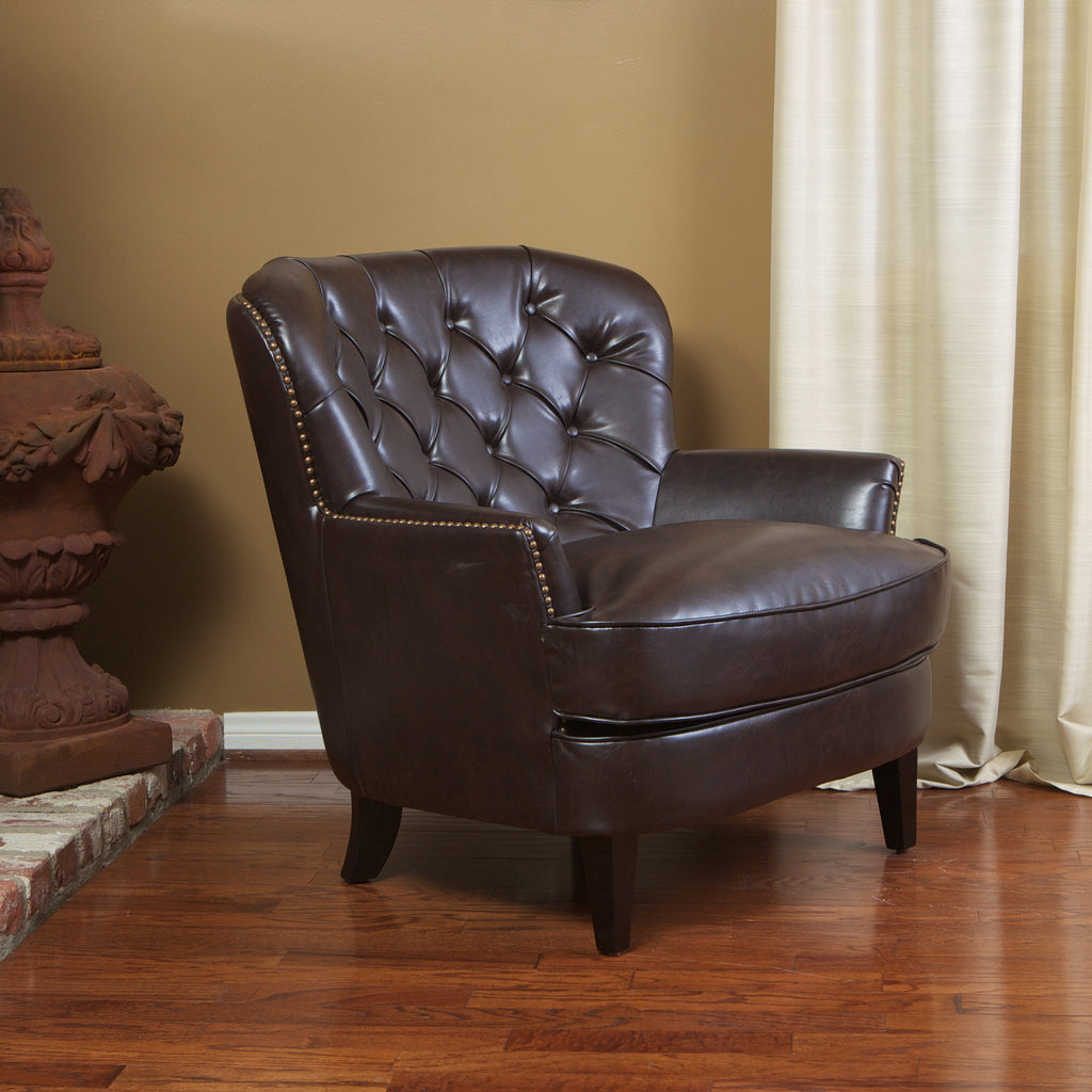 Alfred Brown Leather Arm Chair