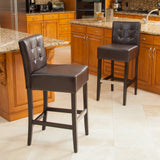 Gregory Brown Leather Back Bar Stools (Set of 2)