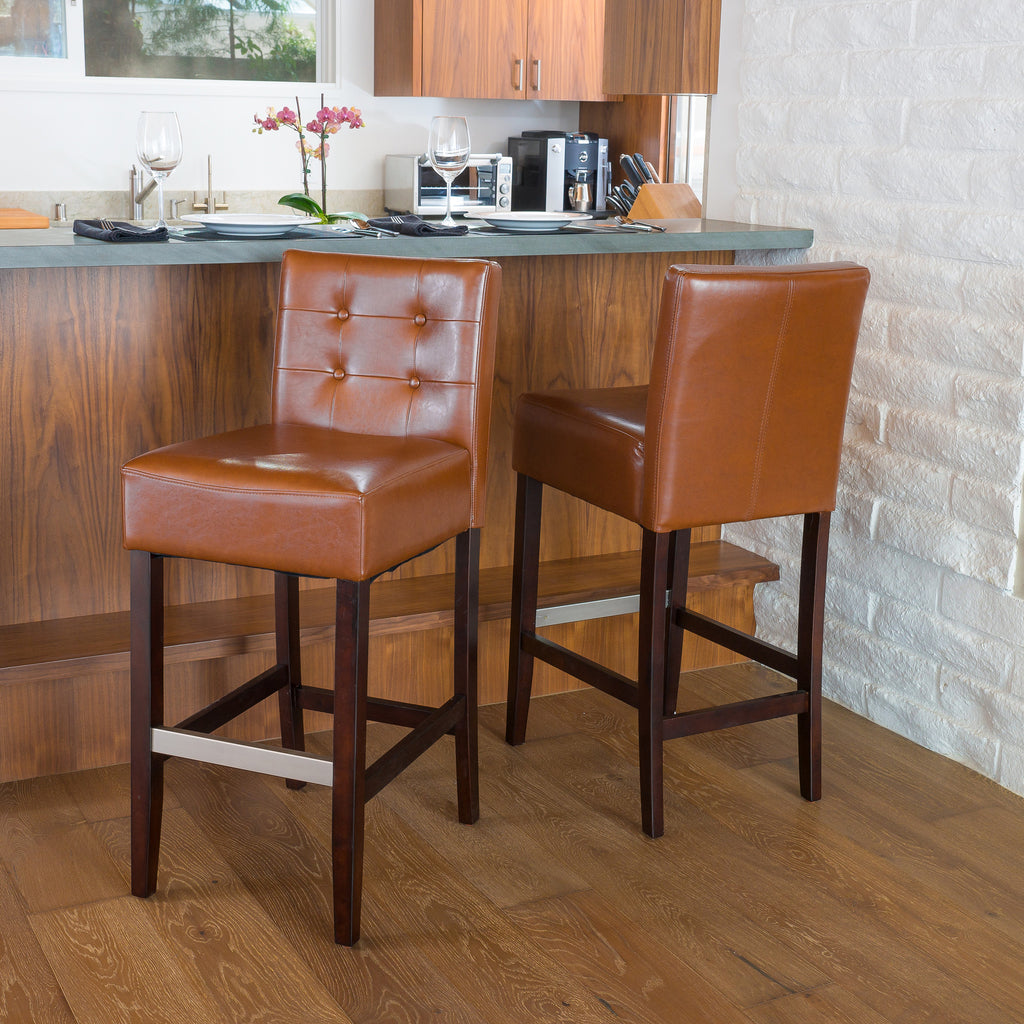 Gregory Hazelnut Leather Back Bar Stool (Set of 2)