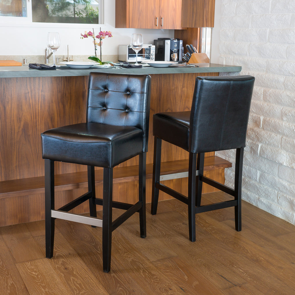 Gregory Black Leather Back Bar Stool (Set of 2)
