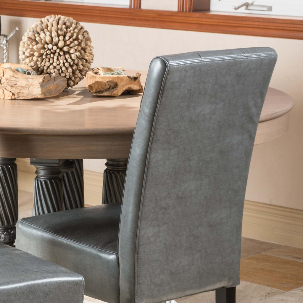 Alexander Dark Grey Leather Dining Chair (Set of 2)