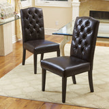 Clark Leather Tufted Dining Chairs (Set of 2)