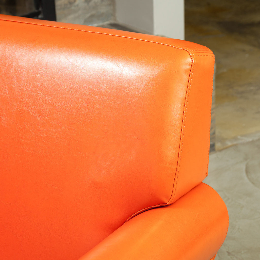 Canton Orange Leather Club Chair