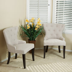 Alexia Beige Fabric Accent Chair (Set of 2)