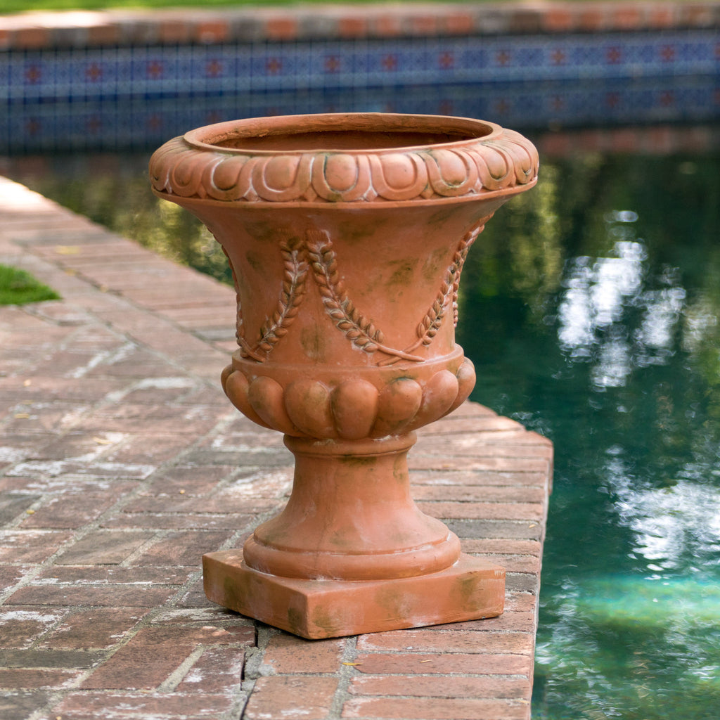 Puccini Clay with Green Moss Roman Urn Planter