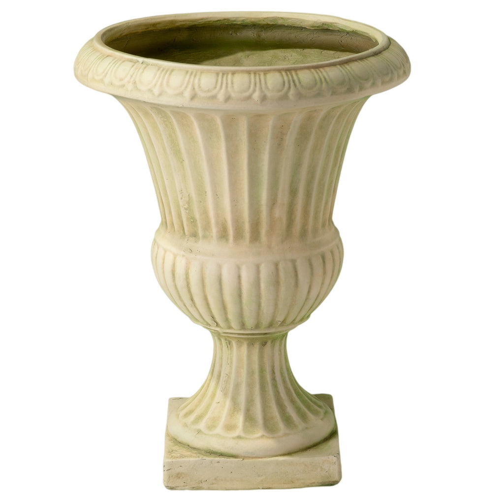 Rossini 22.5-inch White with Green Moss Urn Planter
