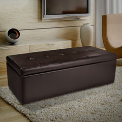Eldon Brown Leather Storage Ottoman
