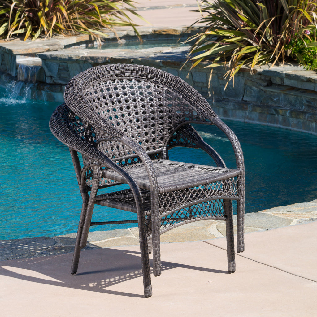 Malibu Outdoor Grey Wicker Dining Chairs (Set of 2)
