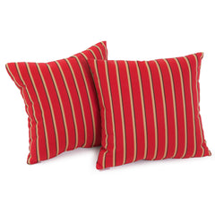 "Cheri Crimson Red Striped 17"" Outdoor Sunbrella Accent Pillow (Set of 2)"