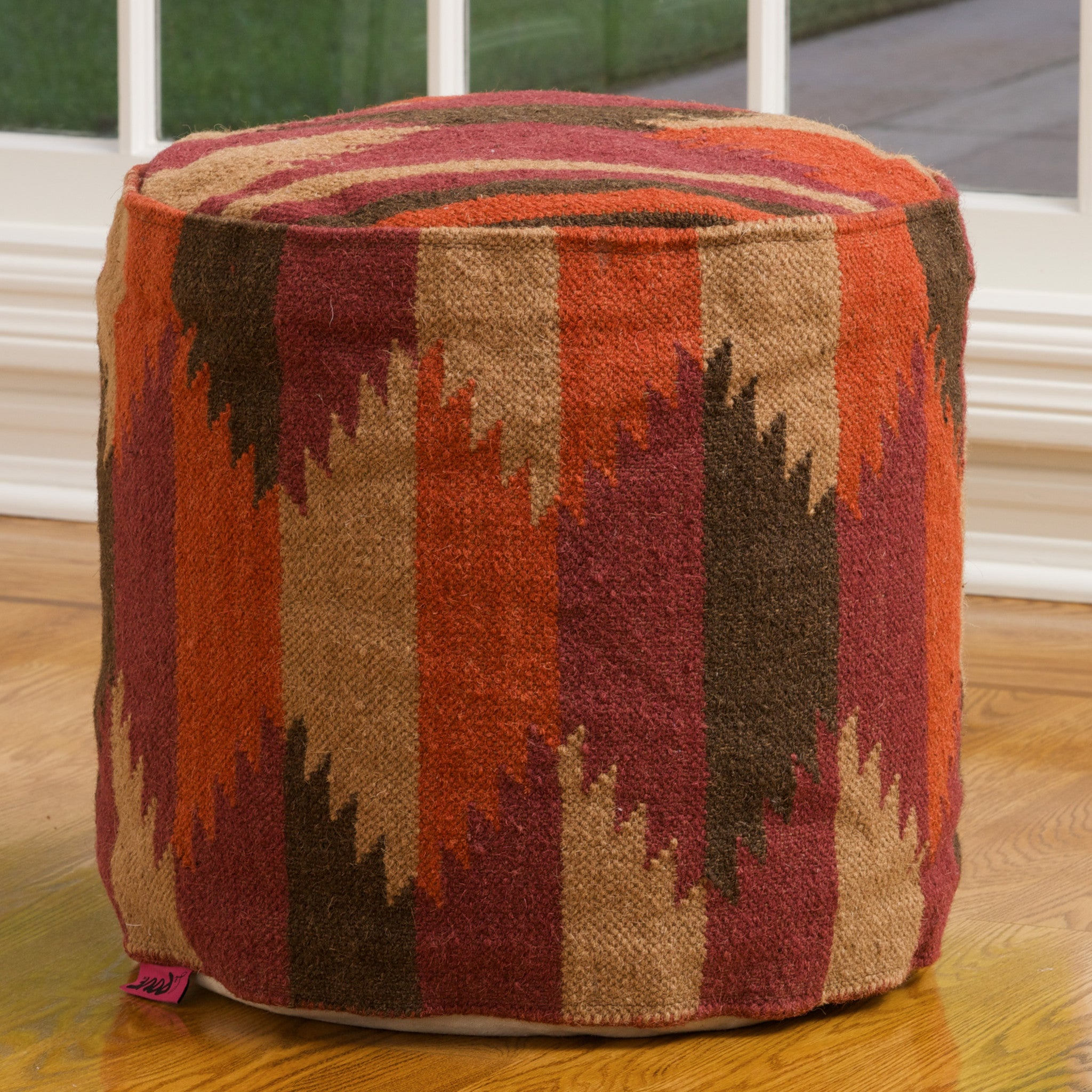 luther brown fabric cube pouf  great deal furniture canada - celise red multicolored ottoman wool ottoman pouf