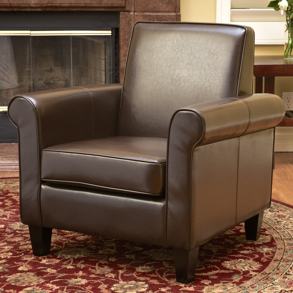 Larkspur Chocolate Brown Leather Chair