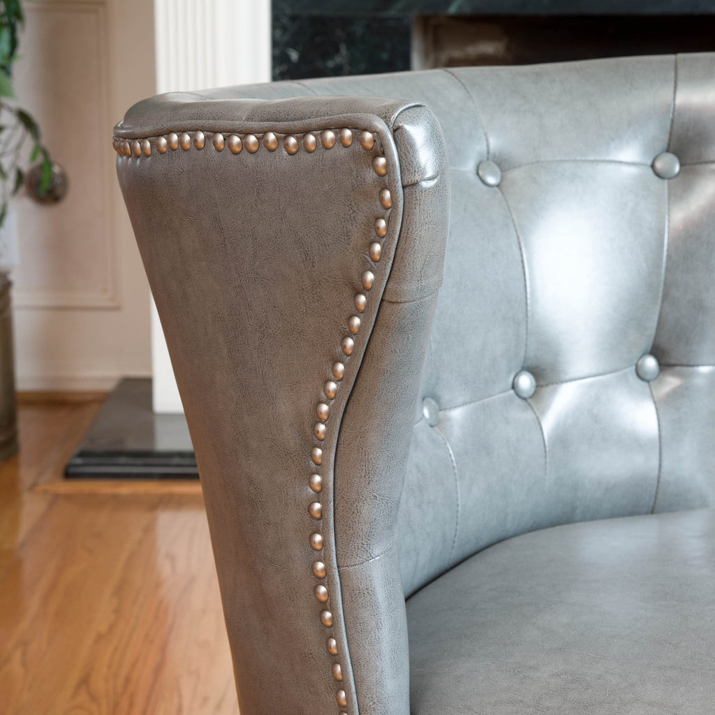 Rocio Grey Leather Accent Chair