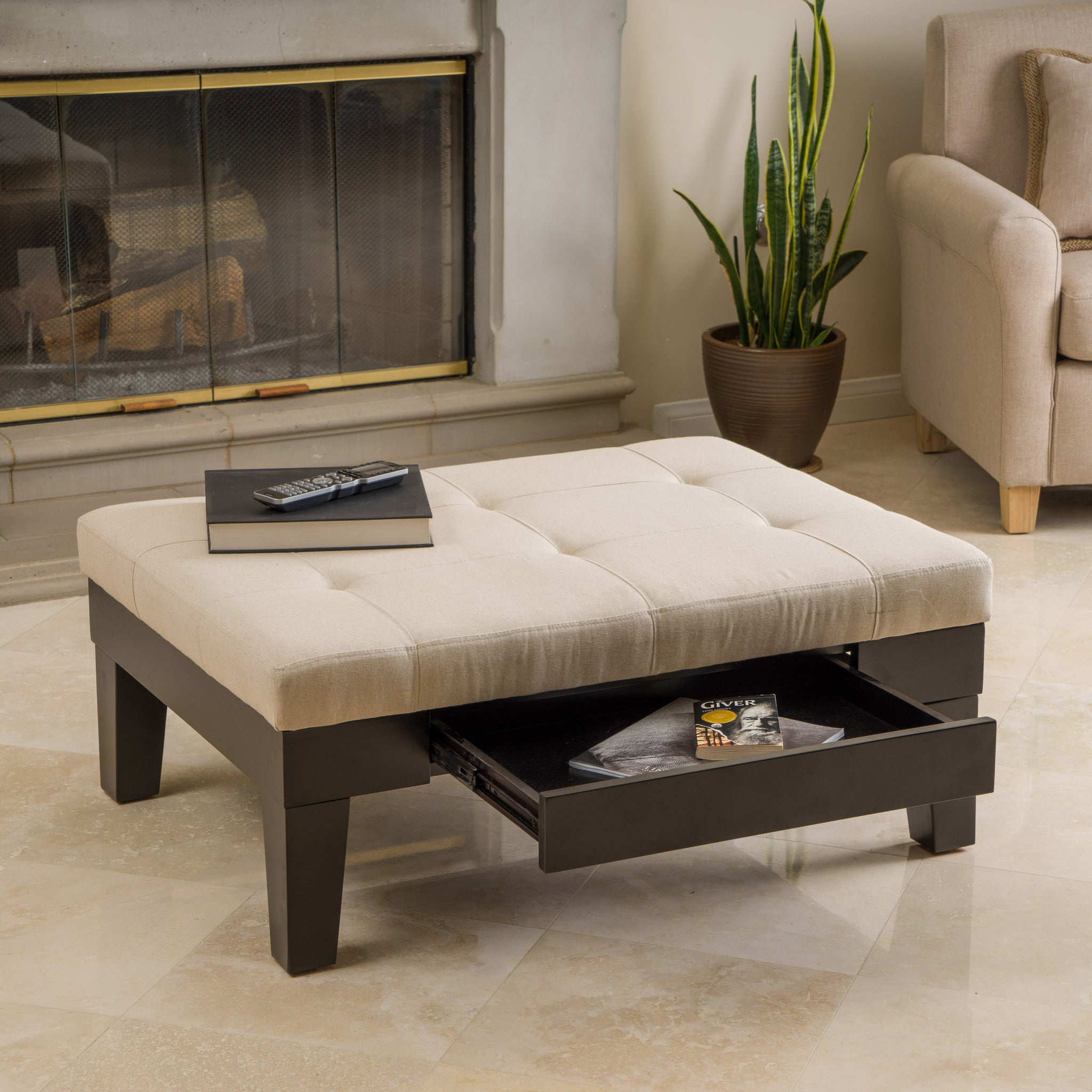 Tucson natural fabric storage ottoman coffee table great Living room furniture tucson