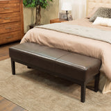 Melrose Brown Leather Wooden Ottoman Bench