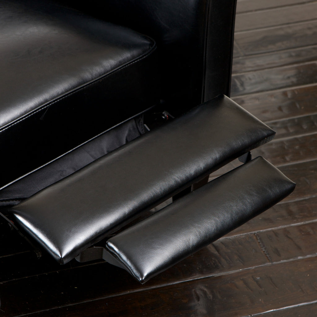 Lucas Black Leather Recliner Club Chair
