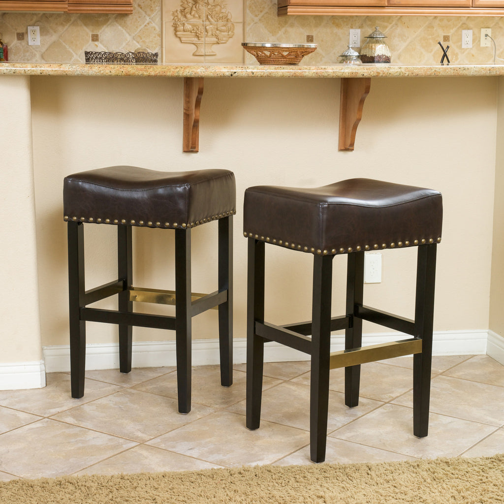 Carmen Brown Backless Leather Bar Stool (Set of 2)