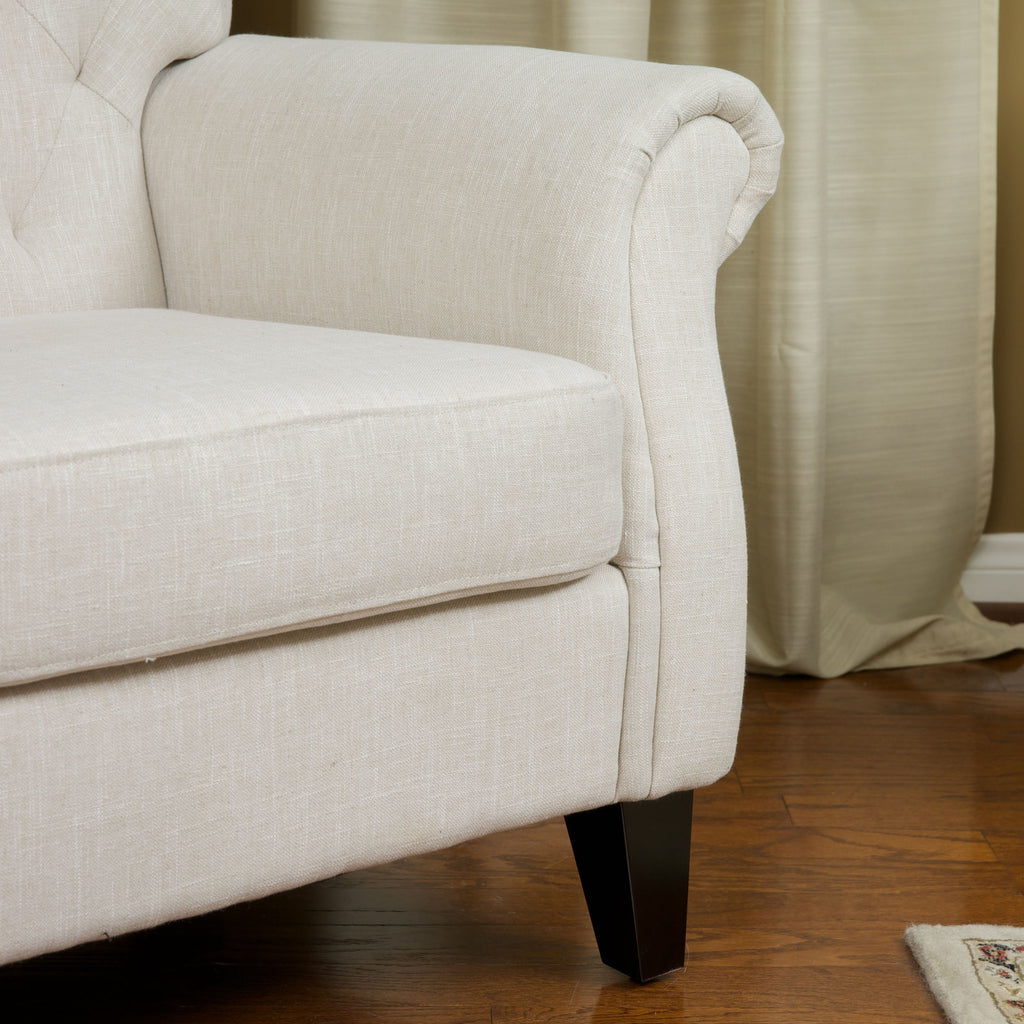 Solvang Tufted Light Beige Fabric Club Chair