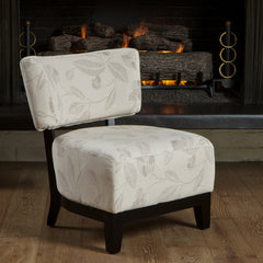 Angola Embroidered Beige Fabric Accent Chair