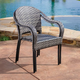 Livingston Outdoor Grey Wicker Chair (Set of 2)