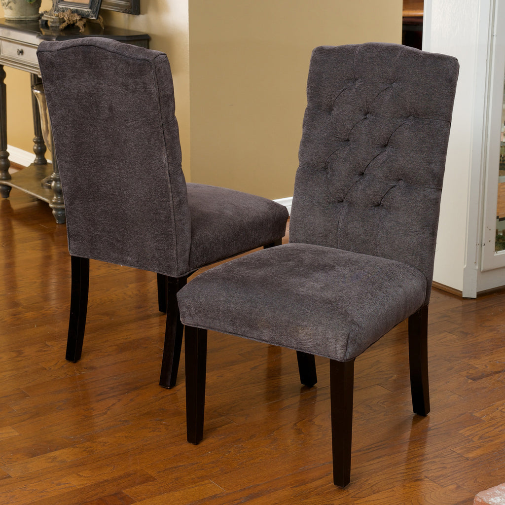 Clark Dark Grey Fabric Tufted Dining Chairs (Set of 2)