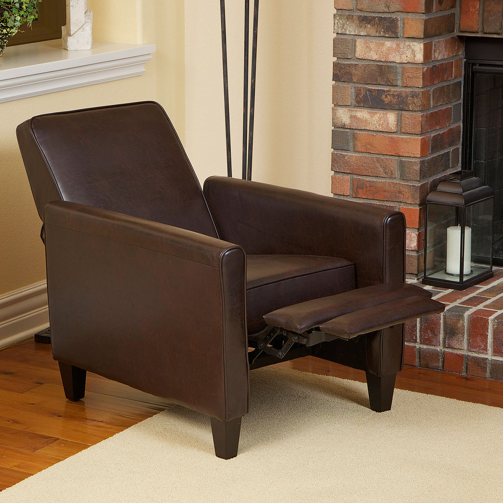 Lucas Brown Leather Recliner Club Chair