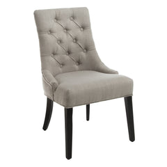 Adara Beige Tufted Linen Dining Chair