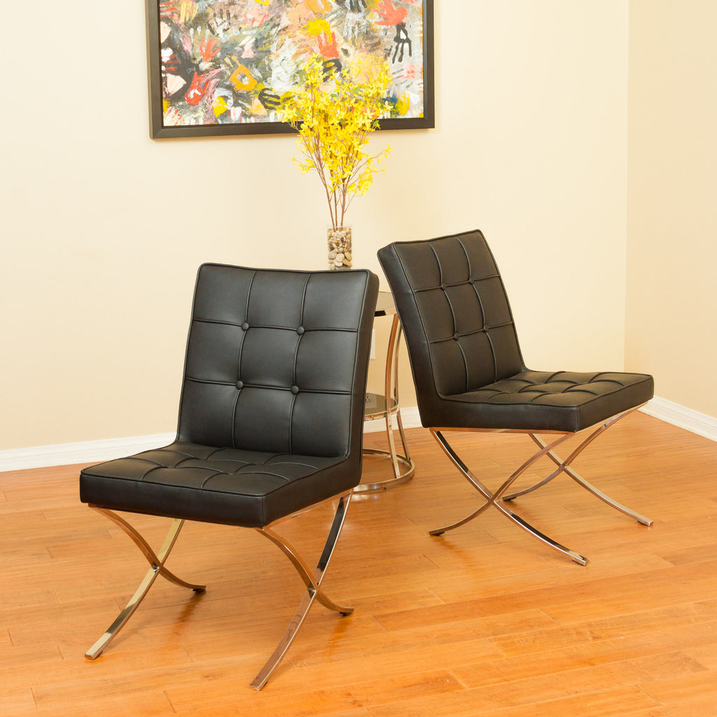 Pandora Modern Design Black Leather Dining Chairs (set of 2)