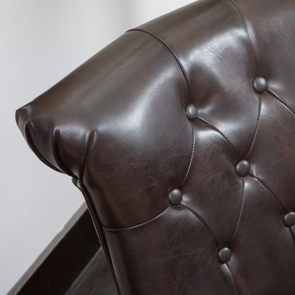 Nathan Tufted Brown Leather Accent Chair