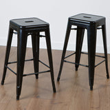 817056019241 Munich Black Steel Counter Stools (Set of 2)