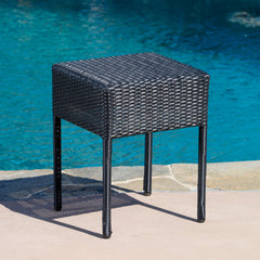 Edgar Outdoor Black Wicker Side Table