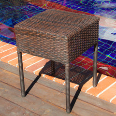 Edgar Outdoor Brown Wicker Side Table