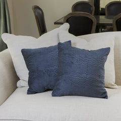 "16.5"" Dark Blue Jacquard Pillows (Set of 2)"
