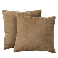 "16.5"" Brown Jacquard Brown Fabric Pillows (Set of 2)"