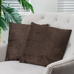 "16.5"" Dark Brown Jacquard Fabric Throw Pillows (Set of 2)"