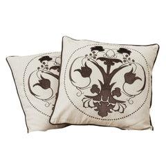 "18"" Black Embroidered Whimsical Tulip Pillows (Set of 2)"
