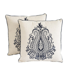 "18"" Blue Embroidered Decorative Throw Pillows (Set of 2)"